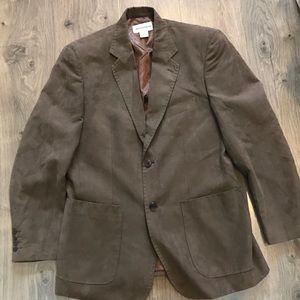 Pronto uomo men's large faux suede brown blazer